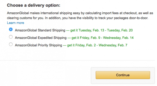 Amazon shipping options
