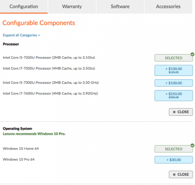 Configuration Options available from Lenovo