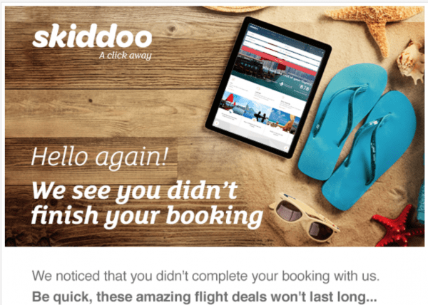 A friendly greeting in a cart abandonment email