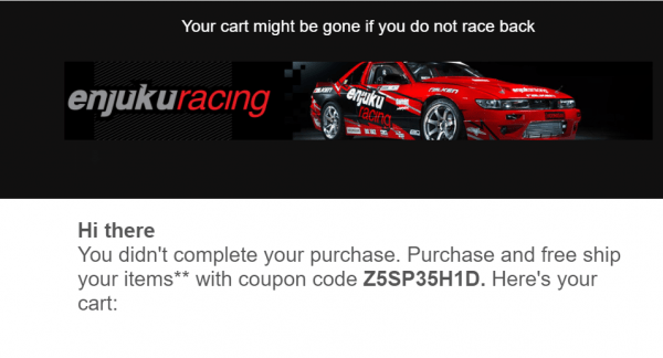 An offer they can't refuse in a cart abandonment email