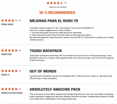 Product Reviews on the 5.11 Tactical site
