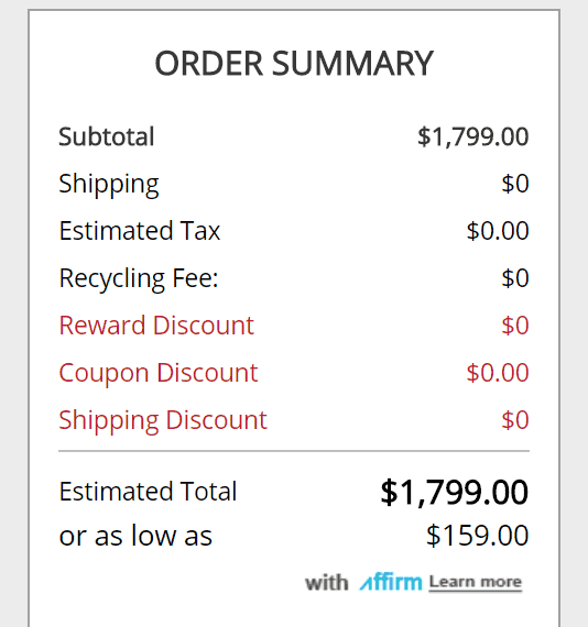 An offer from Affirm at checkout.